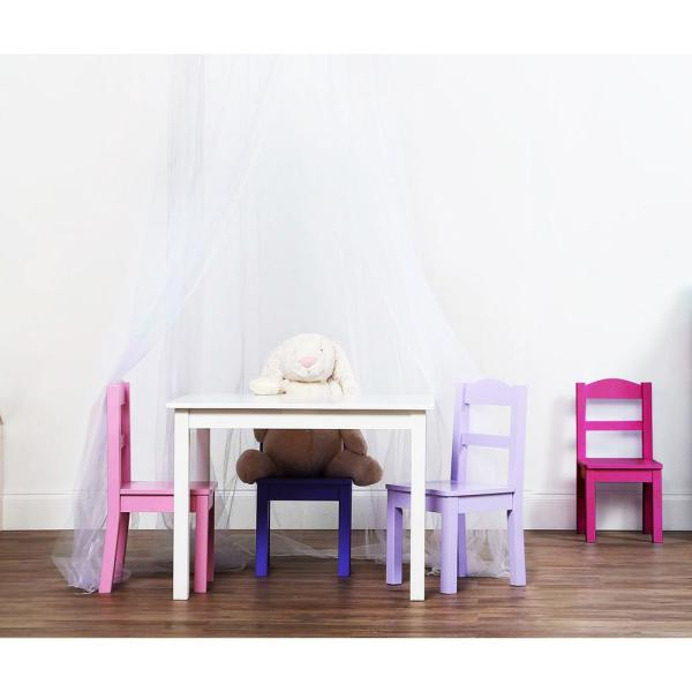 Tot Tutors Forever 5 Piece White Pink Purple Kids Table