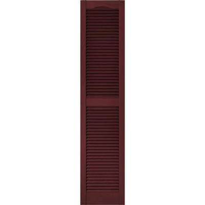 15 in. x 67 in. Louvered Vinyl Exterior Shutters Pair in #078 Wineberry
