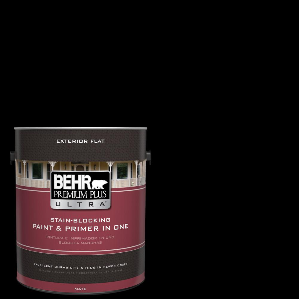 Behr premium plus ultra 1 gal black flat exterior paint and primer in one 485301 the home depot for Behr exterior paint with primer reviews