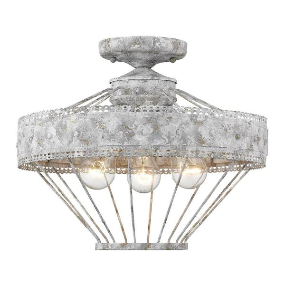 Ferris Collection 3-Light Oyster Semi-Flush Mount Light