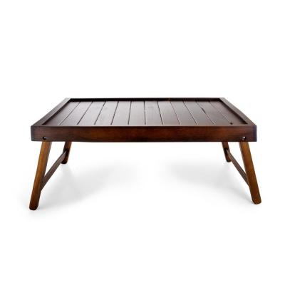 22 in. W x 6 in. H x 14 in. D Rectangular Acacia Wood Folding Bed Tray