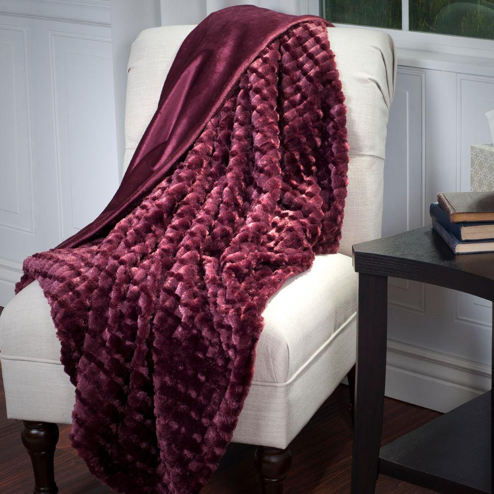 Lavish Home Burgundy Plush Striped Embossed Faux Fur Mink
