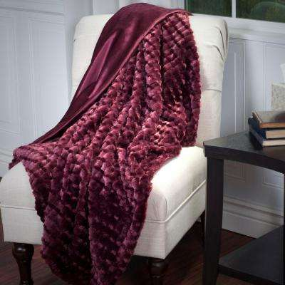 Burgundy Plush Striped Embossed Faux Fur Mink Throw