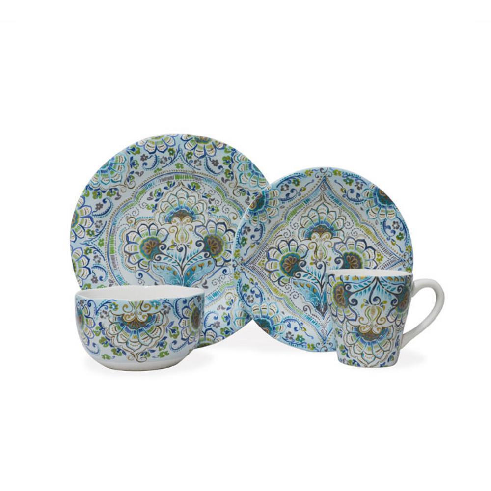 Aisha Blue 16-Piece Dinnerware Set
