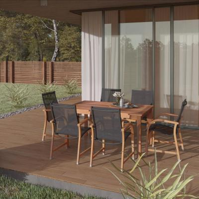 Bahamas Eucalyptus Wood 7-Piece Rectangular Patio Dining Set