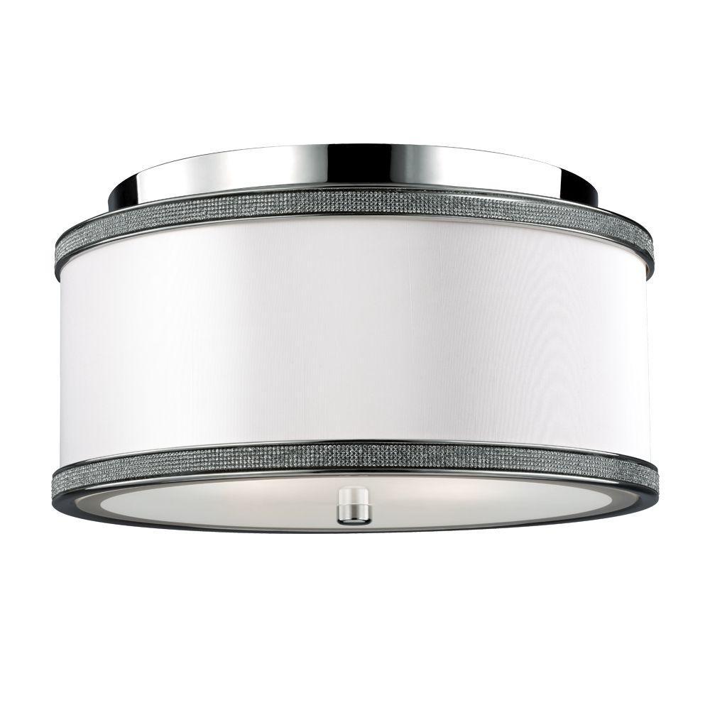 Pave' 2-Light Polished Nickel Flush Mount