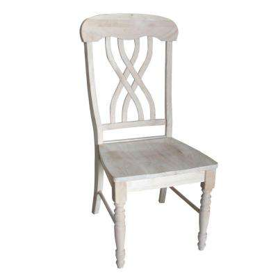 Unfinished Wood Lattice Back Dining Chair (Set of 2)