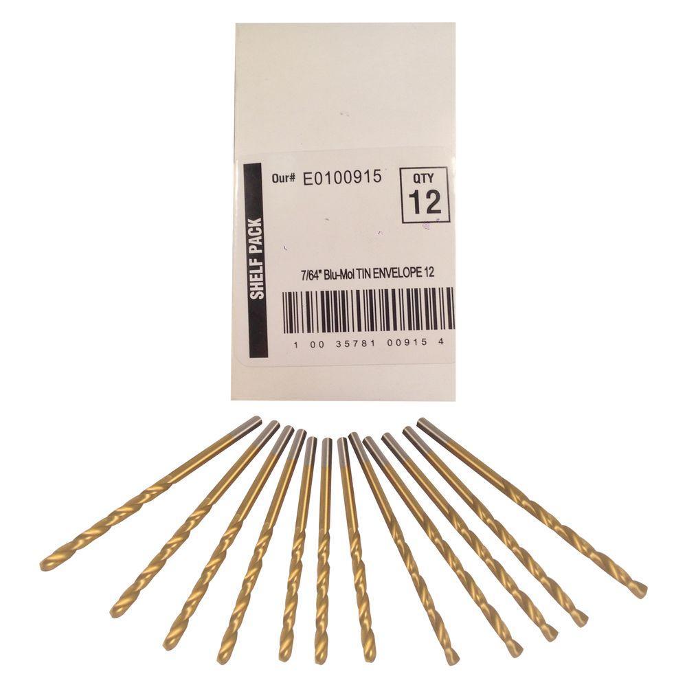 7/64 in. Diameter Titanium Jobber Drill Bit (12-Pack)