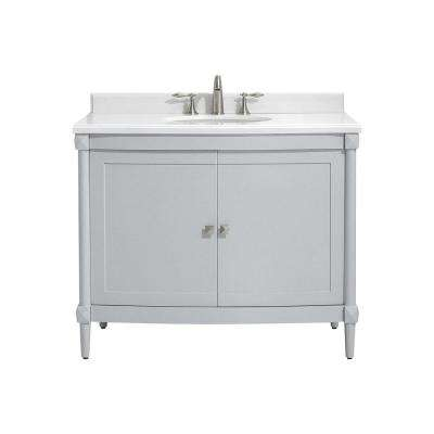 Parkcrest 42 in. W x 22 in. D Bath vanity in Dove Grey with Marble Vanity  Top in White with White Sink