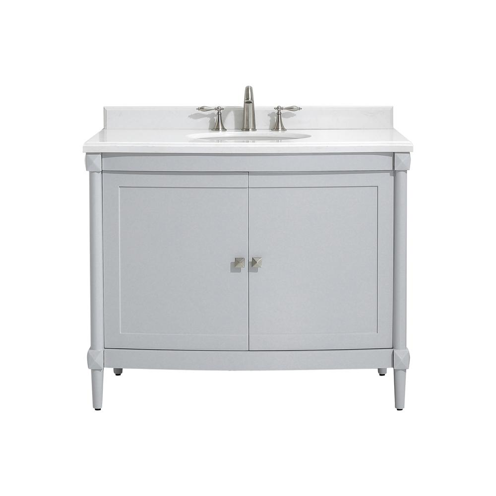 Home Decorators Collection Parkcrest 42 in. W x 22 in. D Bath vanity in Dove Grey with Marble Vanity Top in White with White Sink