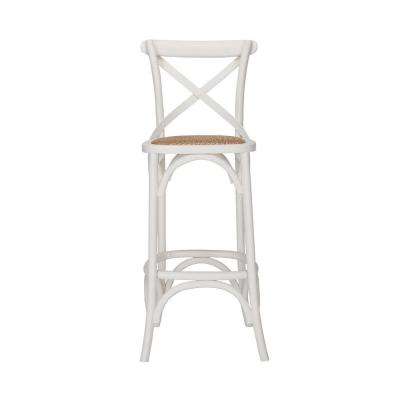 Mavery Ivory Wood Bar Stool with Woven Seat and Cross Back (18 in. W x 43.7 in. H)