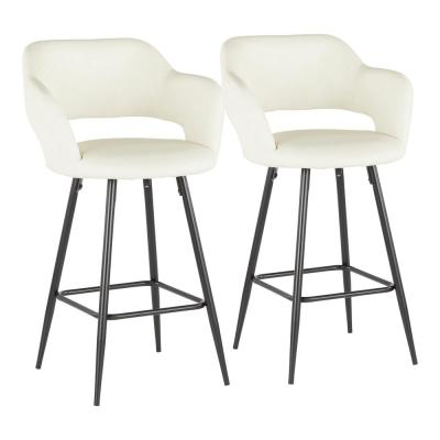 Margarite 26 in. Cream Faux Leather Upholstery Counter Stool (Set of 2)