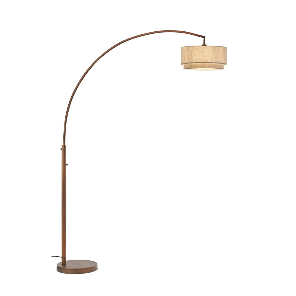 Artiva Elena Ii 82 In Led Arched Antique Bronze Floor Lamp With Double Shade And Dimmer