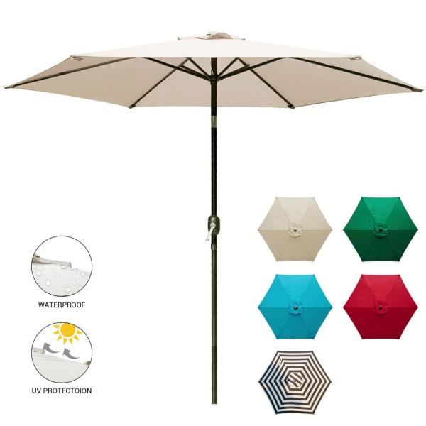 9 ft. Market Outdoor Patio Umbrella with Push Bottom Tilt and Crank for Backyard Beige