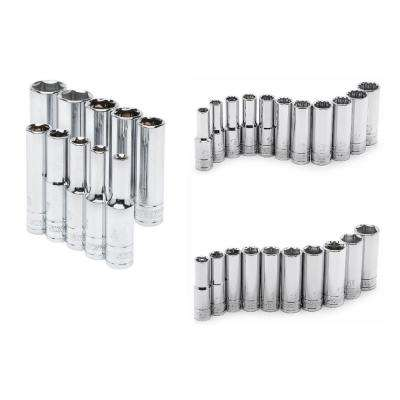 1/4 in., 3/8 in. and 1/2 in. Drive Metric Deep Socket Set (31-Piece)
