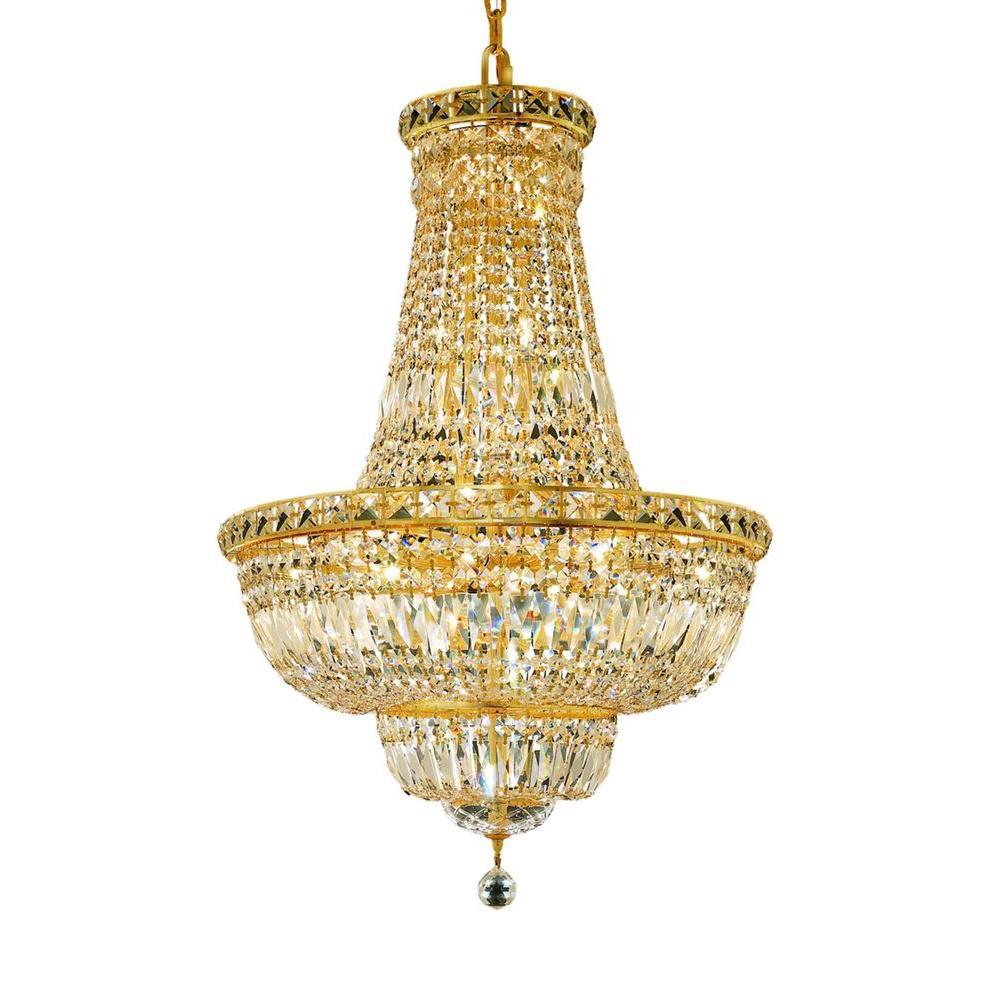 Elegant Lighting 22 Light Gold Chandelier With Clear