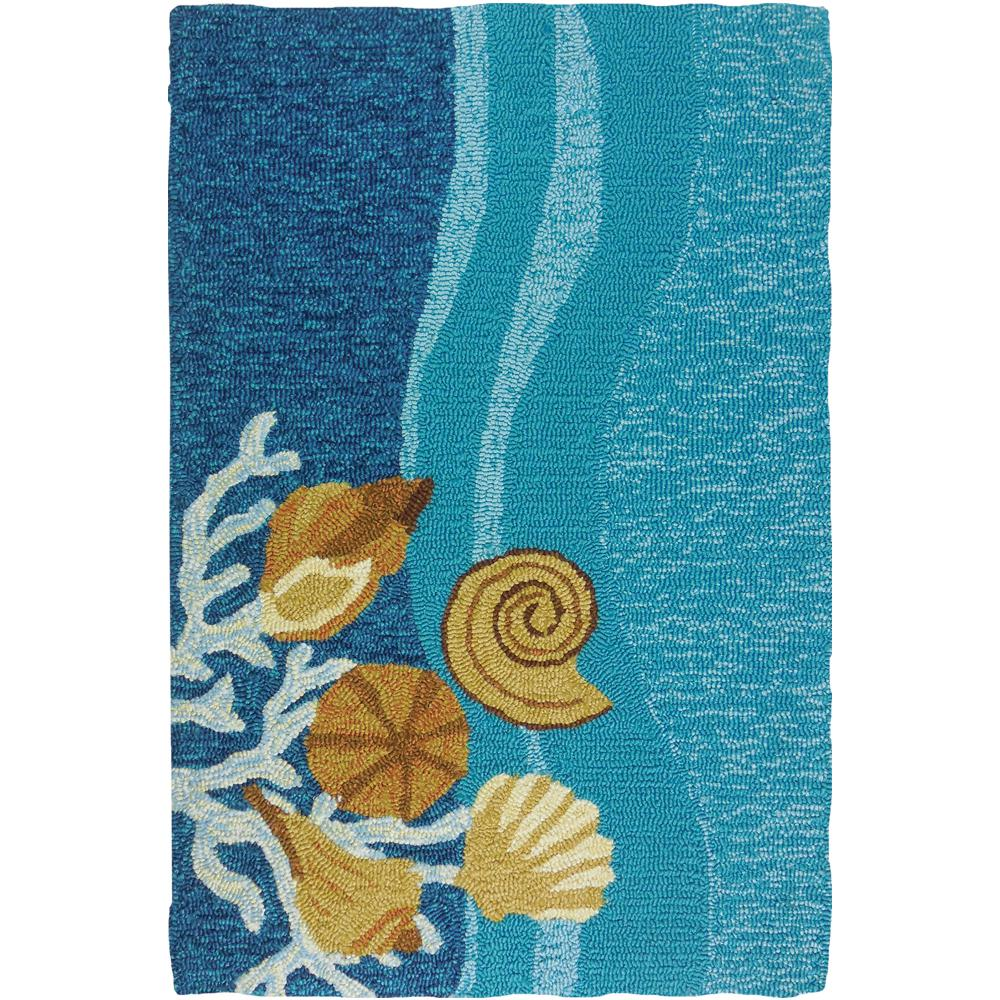 Shells Amp White Coral Blue 2 Ft X 3 Ft Indoor Outdoor
