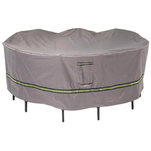 Soteria 108 in. Grey Round Patio Table with Chairs Cover
