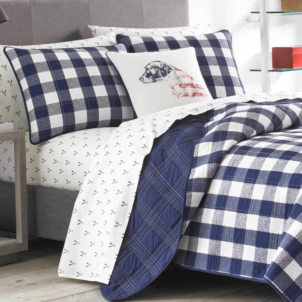 Lake House Navy Plaid Cotton Quilt Set