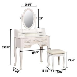 White Harriet Vanity with Padded Stool and Storage Drawers