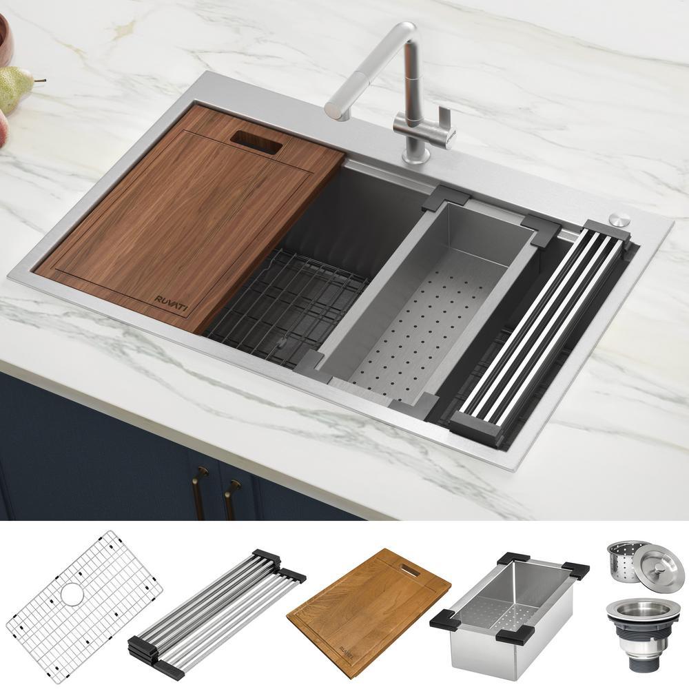 Drop-In Stainless Steel 33 in. Workstation Ledge Topmount Kitchen Sink 16-Gauge Single Bowl