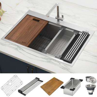 Drop-In Stainless Steel 33 in. Workstation Ledge Topmount Kitchen Sink 16-Gauge Single Bowl