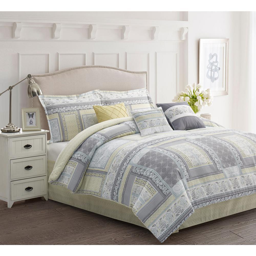 R2Zen Stefan 7-Piece Grey Floral Queen Comforter Set RZ612SE03