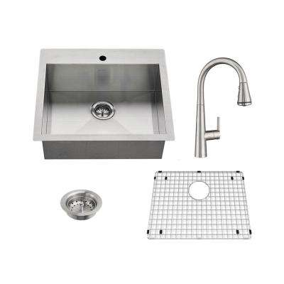Edgewater All-in-One Undermount Stainless Steel 25 in. 1-Hole Single Bowl Kitchen Sink with faucet in Stainless Steel