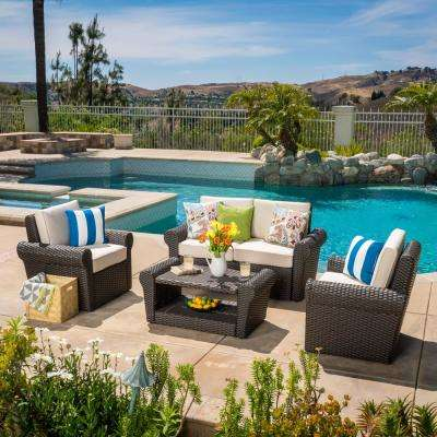 Amaya Dark Brown 4-Piece Wicker Patio Conversation Set with Beige Cushions