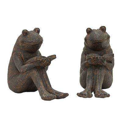 8.5 in. x 3.5 in. Frog Bookends in Brown (Set of 2)