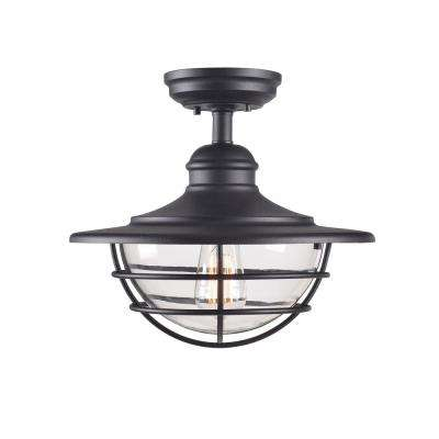 Eli 1-Light Black Semi-Flush Mount