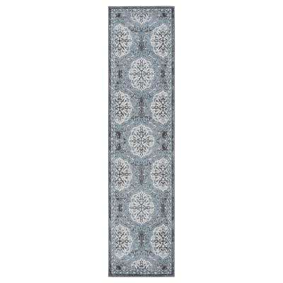 Alexis Grey-Blue Bordered 1 ft. 6 in. x 10 ft. 3 in. Runner Rug