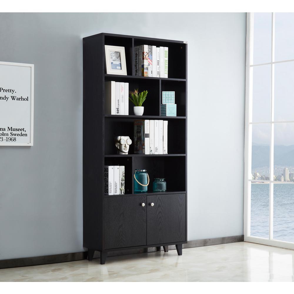 Geometric Bookcase Black with 4-Layer Organizer Rack Display Cabinet Ladder Shelf Freestanding Corner Storage Bookshelf