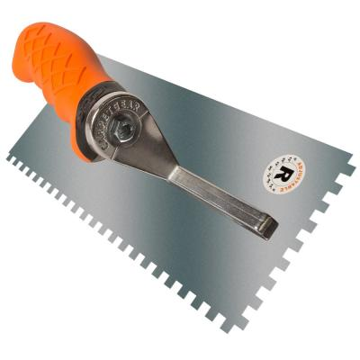 Ergonomic 1/4 in. x 1/4 in. x 1/4 in. Stainless Steel Square Notched Flooring Trowel with Adjustable Handle