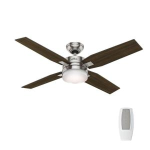 Hunter Mercado 50 inch Indoor Brushed Nickel Ceiling Fan with Light and Universal Remote by Hunter