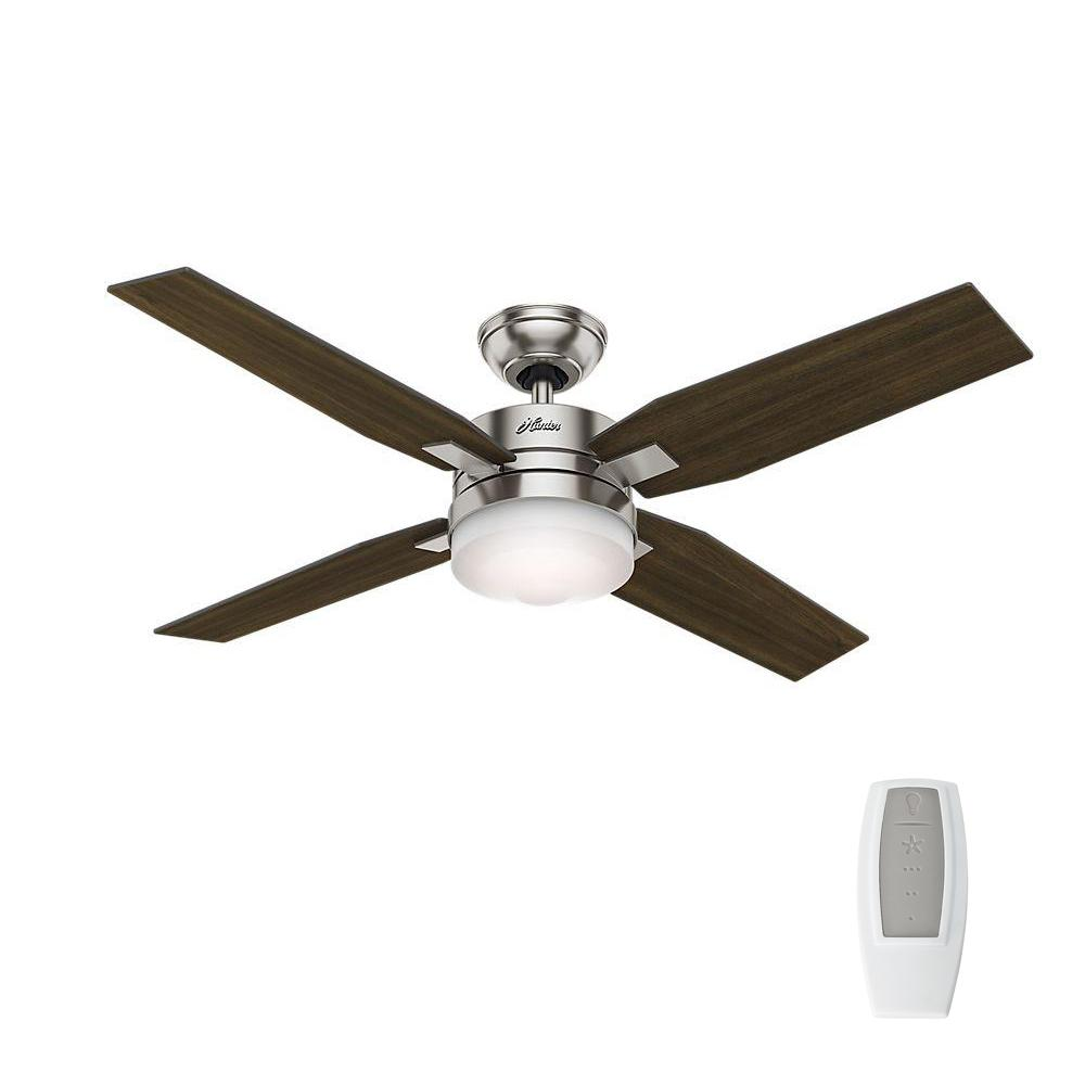 Hunter mercado 50 in led indoor brushed nickel ceiling fan with led indoor brushed nickel ceiling fan with light and universal remote 59207 the home depot aloadofball Image collections