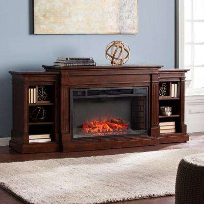 Boxborough 72 in. W Widescreen Electric Fireplace with Bookcases in Espresso