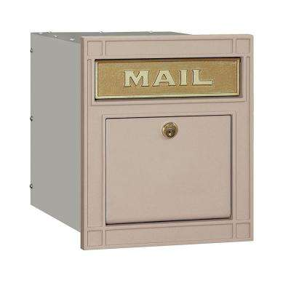 4100 Series 11.5 in. W x 13.25 in. H x 15.75 in. D Beige Locking Plain Door Cast Aluminum Column Mailbox