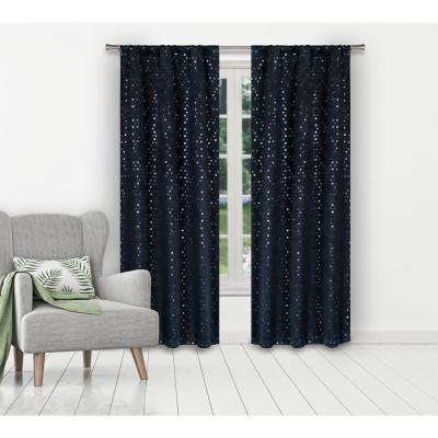 Margie 38 in. W x 84 in. L Polyester Window Panel in Indigo