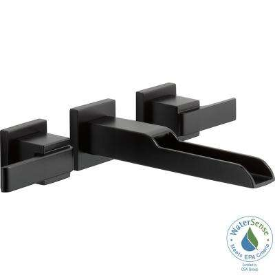 Ara 8 in. Widespread 2-Handle Bathroom Faucet Trim Kit in Matte Black with Open Channel Spout (Valve Not Included)