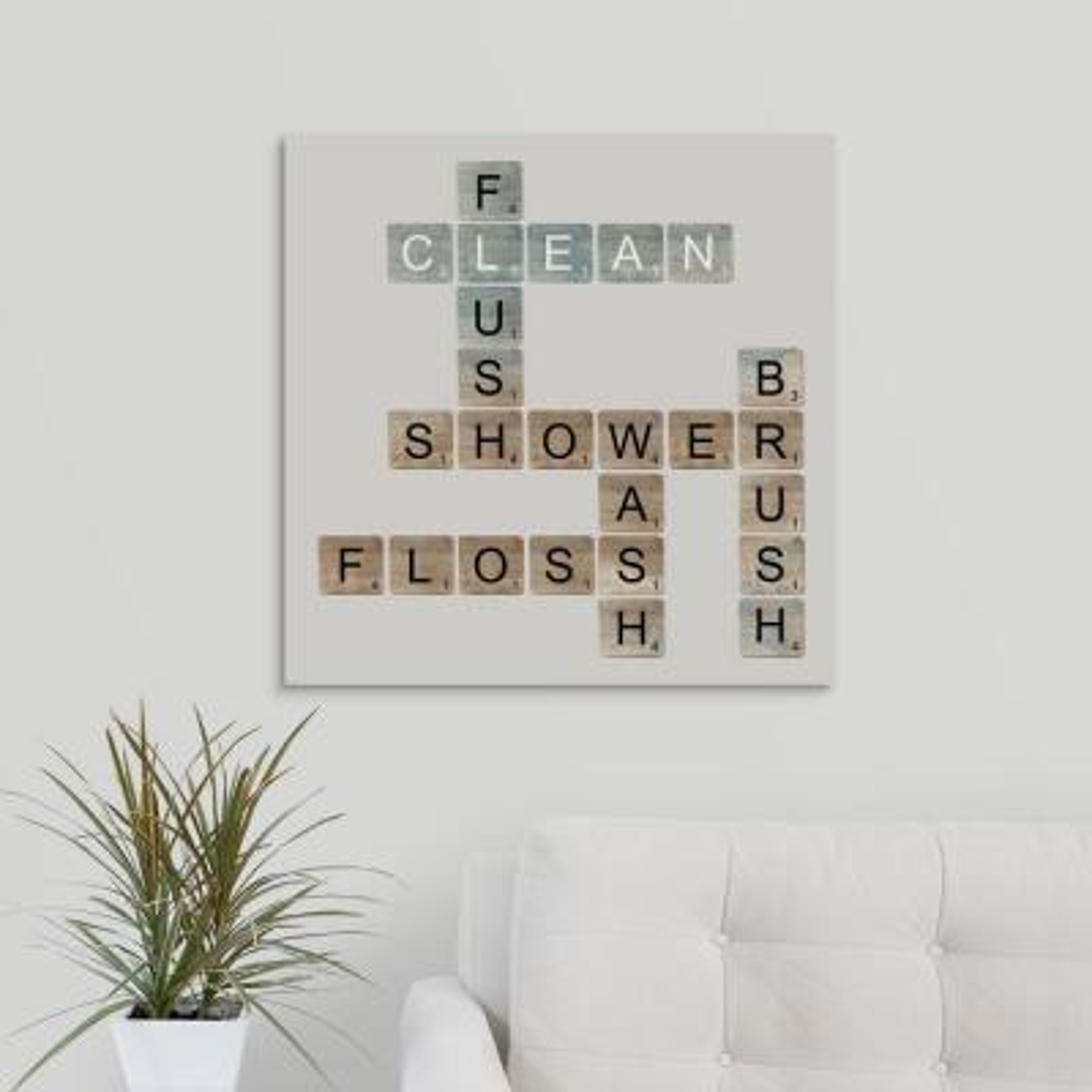 "24 in. x 24 in. ""Bathroom Letters"" by  Longfellow Designs Canvas Wall Art"