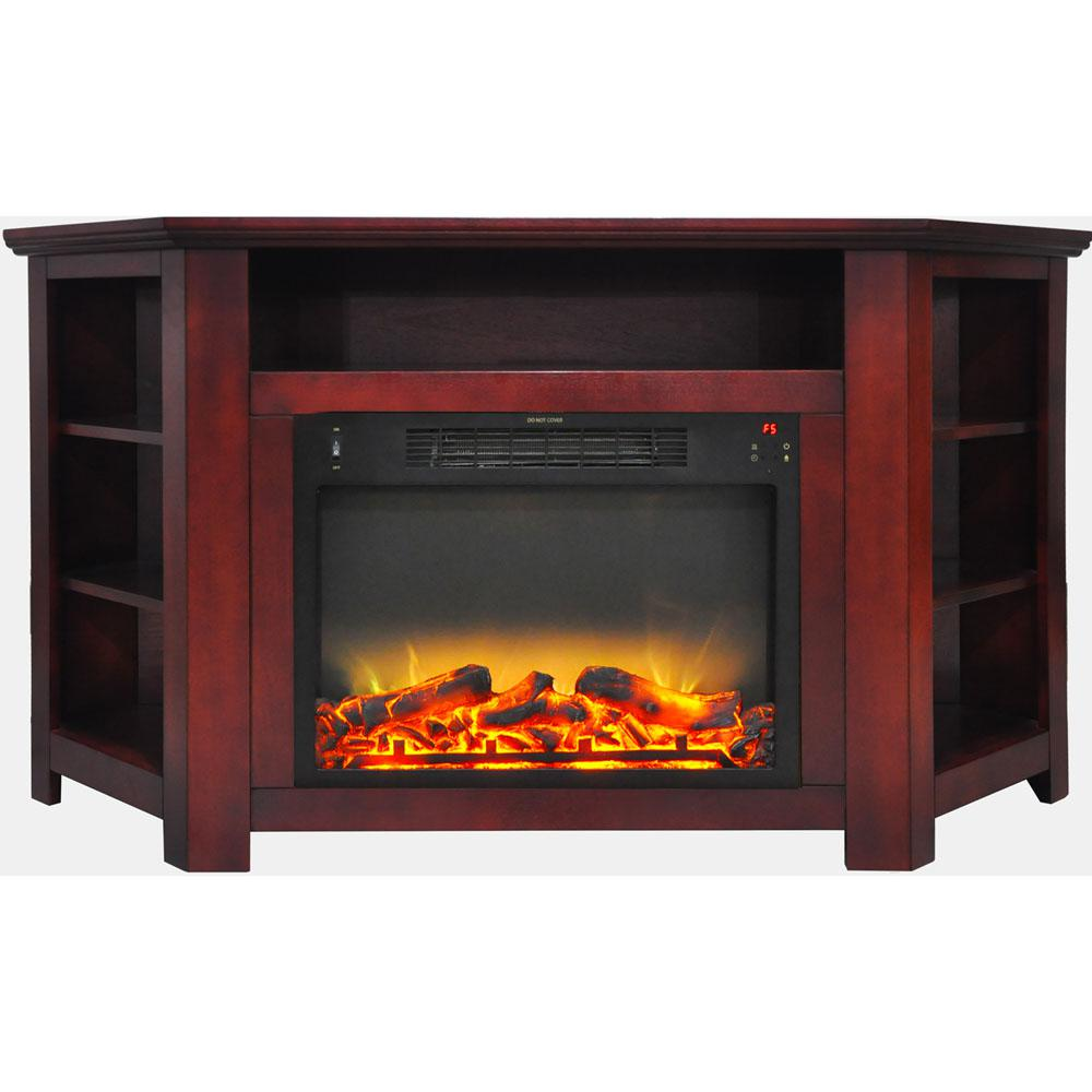 Tyler Park 56 in. Electric Corner Fireplace in Cherry with 1500-Watt