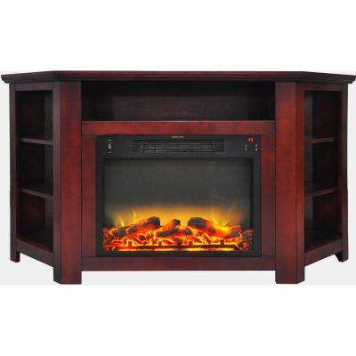 Tyler Park 56 in. Electric Corner Fireplace in Cherry with 1500-Watt Fireplace Insert