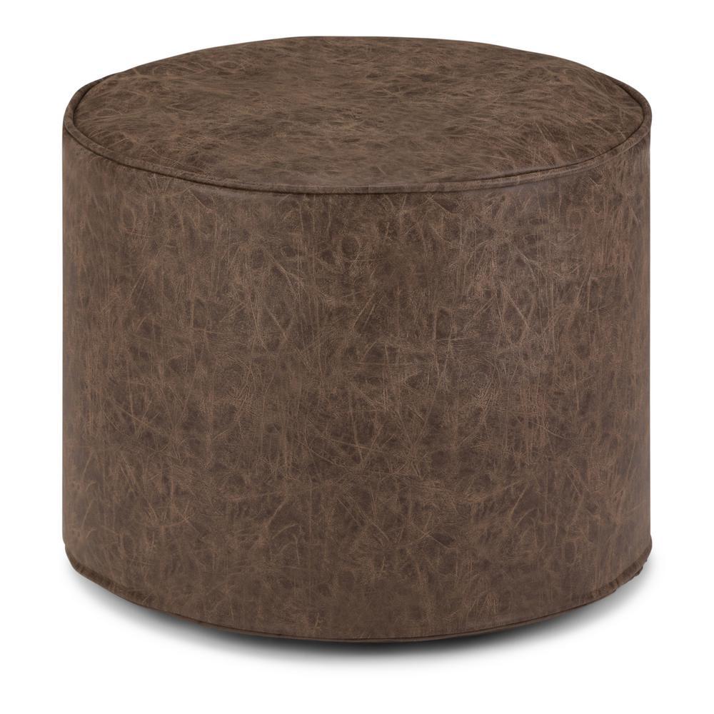 Kearney Distressed Brown Round Pouf