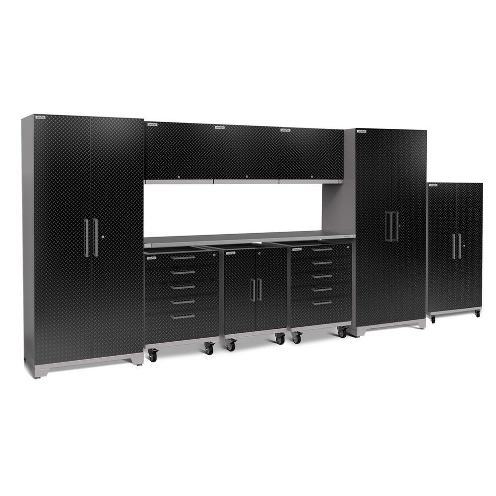Performance Plus Diamond Plate 2.0 80 in. H x 189 in. W x 24 in. D Garage Cabinet Set in Black (10-Piece)