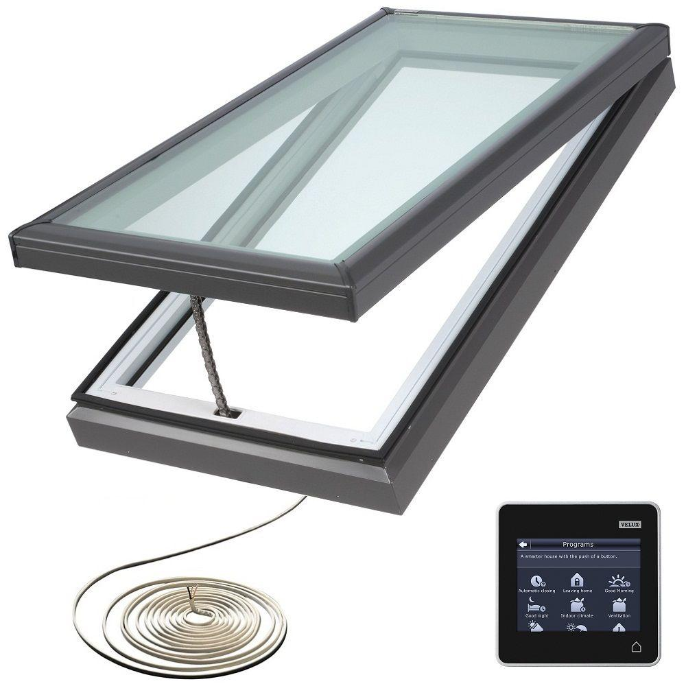 VELUX 22-1/2 in. x 34-1/2 in. Fresh Air Electric Venting Curb-Mount Skylight with Laminated Low-E3 Glass