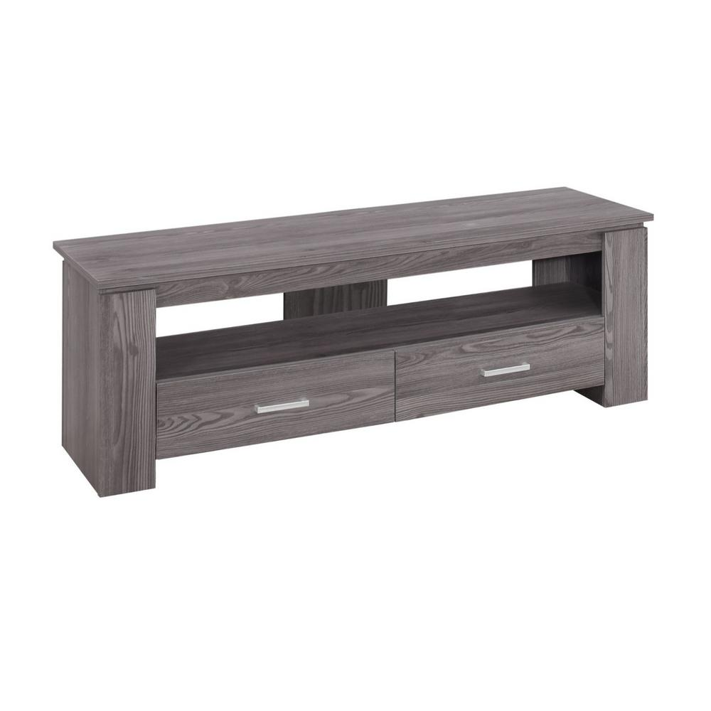 HomeRoots Jasmine 16 in. Gray Particle Board TV Stand with 2 Drawer Fits TVs Up to 43 in., Grey