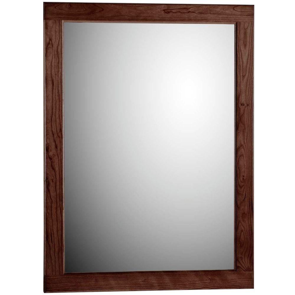 Ultraline 24 in. W x .75 in. D x 32 in. H Framed Wall Mirror in Dark Alder
