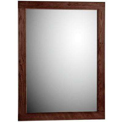 Ultraline 24 in. W x .75 in. D x 32 in. H Framed Wall Mirror in Dark Alder