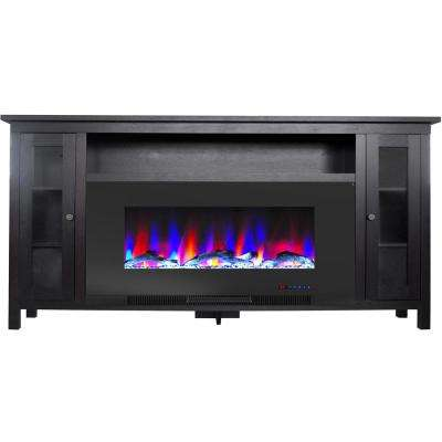 Somerset 70 in. Black Electric Fireplace TV Stand in Multi-Color with LED Flame Driftwood Log Display and Remote Control
